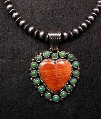 Image 3 of Navajo Kingman Turquoise Spiny Oyster Heart Pendant, Geneva Apachito