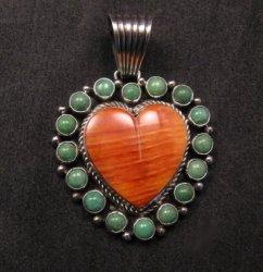 Navajo Kingman Turquoise Spiny Oyster Heart Pendant, Geneva Apachito