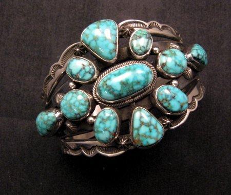 Image 2 of Navajo Native American Kingman Web Turquoise Silver Bracelet, Aaron Toadlena