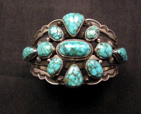 Image 0 of Navajo Native American Kingman Web Turquoise Silver Bracelet, Aaron Toadlena