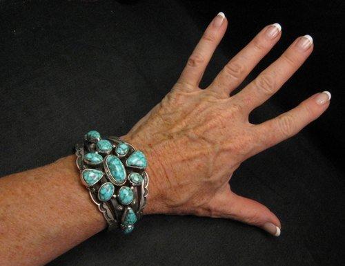Image 1 of Navajo Native American Kingman Web Turquoise Silver Bracelet, Aaron Toadlena