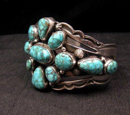 Image 3 of Navajo Native American Kingman Web Turquoise Silver Bracelet, Aaron Toadlena