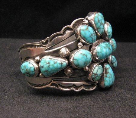 Image 4 of Navajo Native American Kingman Web Turquoise Silver Bracelet, Aaron Toadlena