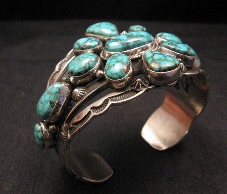 Image 5 of Navajo Native American Kingman Web Turquoise Silver Bracelet, Aaron Toadlena