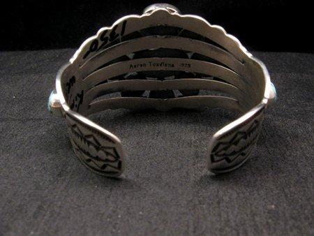 Image 6 of Navajo Native American Kingman Web Turquoise Silver Bracelet, Aaron Toadlena