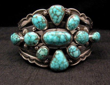 Image 7 of Navajo Native American Kingman Web Turquoise Silver Bracelet, Aaron Toadlena