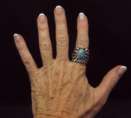 Image 4 of Native American Darryl Becenti Turquoise Silver Ring sz8-1/2