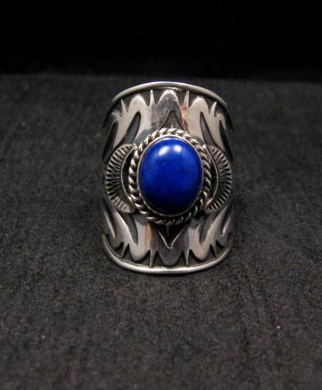 Image 0 of Wide Navajo Indian Lapis Sterling Silver Ring Sz7, Derrick Gordon