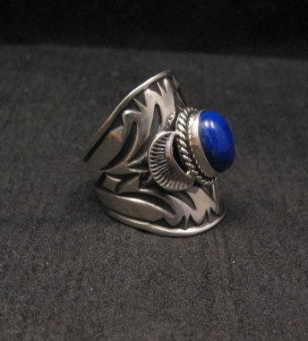 Image 1 of Wide Navajo Indian Lapis Sterling Silver Ring Sz7, Derrick Gordon
