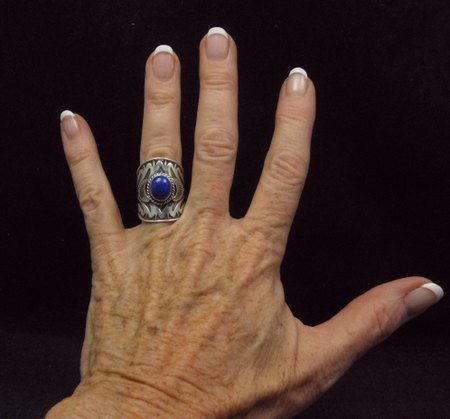 Image 3 of Wide Navajo Indian Lapis Sterling Silver Ring Sz7, Derrick Gordon