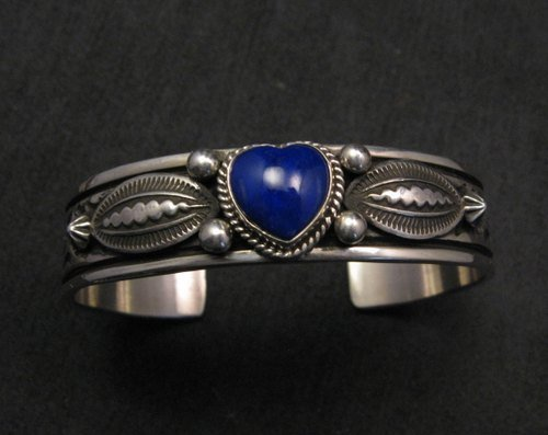 Image 0 of Narrow Navajo Native American Lapis Heart Silver Bracelet, Happy Piasso