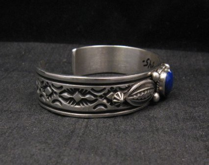 Image 3 of Narrow Navajo Native American Lapis Heart Silver Bracelet, Happy Piasso