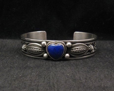 Image 5 of Narrow Navajo Native American Lapis Heart Silver Bracelet, Happy Piasso
