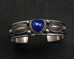Narrow Navajo Native American Lapis Heart Silver Bracelet, Happy Piasso