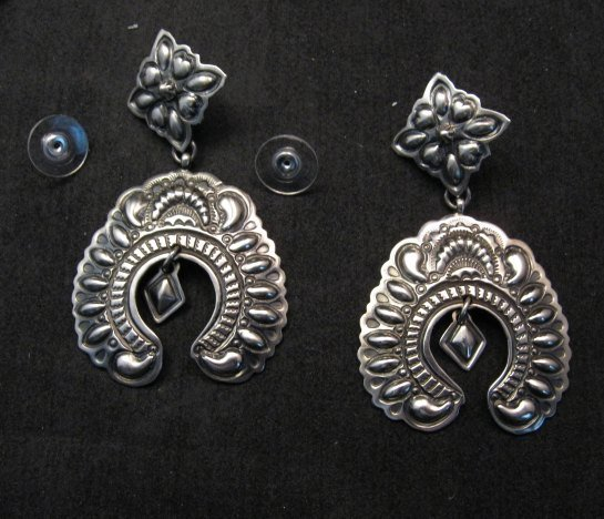 Image 0 of Very Large Darryl Becenti Navajo Naja Sterling Silver Earrings