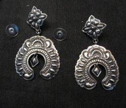Very Large Darryl Becenti Navajo Naja Sterling Silver Earrings