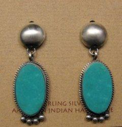Navajo Native American Turquoise Silver Earrings, Selena Warner