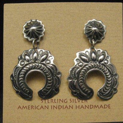 Image 0 of Native American Darryl Becenti Navajo Naja Sterling Silver Earrings