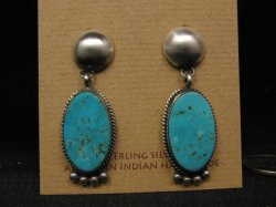 Navajo Native American Turquoise Sterling Silver Earrings, Selena Warner