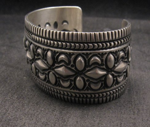 Image 4 of Navajo Native American Stamped Sterling Silver Bracelet, Darryl Becenti