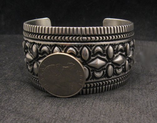 Image 5 of Navajo Native American Stamped Sterling Silver Bracelet, Darryl Becenti