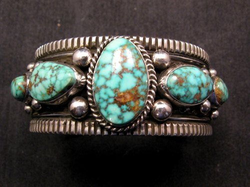 Image 0 of Navajo Native American Turquoise Silver Bracelet, Guy Hoskie