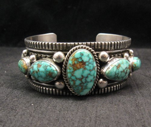 Image 1 of Navajo Native American Turquoise Silver Bracelet, Guy Hoskie