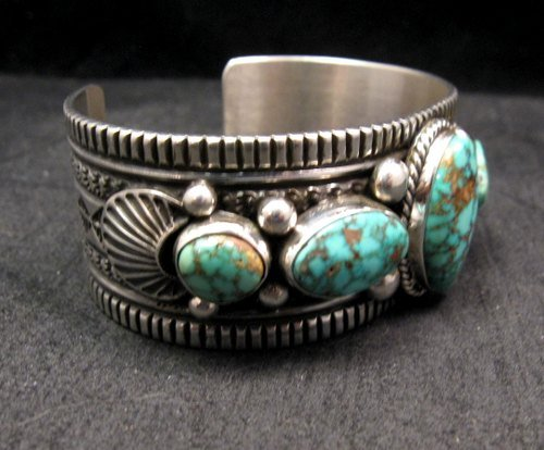 Image 2 of Navajo Native American Turquoise Silver Bracelet, Guy Hoskie