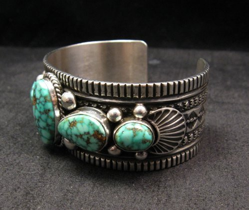 Image 3 of Navajo Native American Turquoise Silver Bracelet, Guy Hoskie