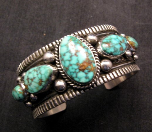 Image 6 of Navajo Native American Turquoise Silver Bracelet, Guy Hoskie
