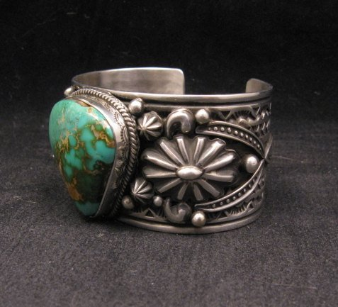 Image 7 of Albert Jake Navajo Royston Turquoise Silver Cuff Bracelet