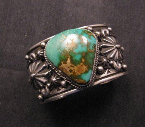 Image 0 of Albert Jake Navajo Indian Royston Turquoise Silver Cuff Bracelet