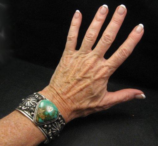 Image 3 of Albert Jake Navajo Royston Turquoise Silver Cuff Bracelet