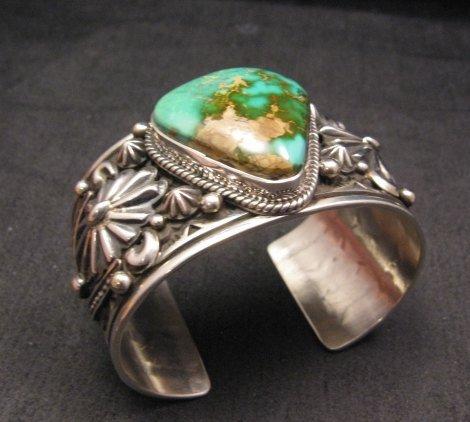 Image 2 of Albert Jake Navajo Indian Royston Turquoise Silver Cuff Bracelet