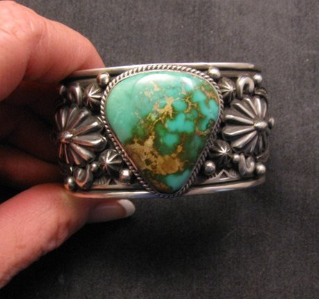 Image 1 of Albert Jake Navajo Indian Royston Turquoise Silver Cuff Bracelet