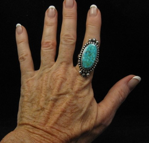 Image 2 of Long Native American Navajo ~ Guy Hoskie ~ Turquoise Silver Ring sz8-1/2