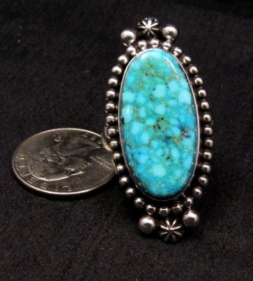 Image 0 of Long Native American Navajo ~ Guy Hoskie ~ Turquoise Silver Ring sz8-1/2