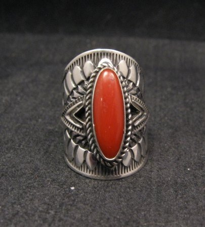 Image 0 of Wide Navajo Coral Sterling Silver Ring Sz6-3/4, Derrick Gordon