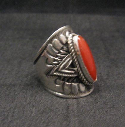 Image 1 of Wide Navajo Coral Sterling Silver Ring Sz6-3/4, Derrick Gordon