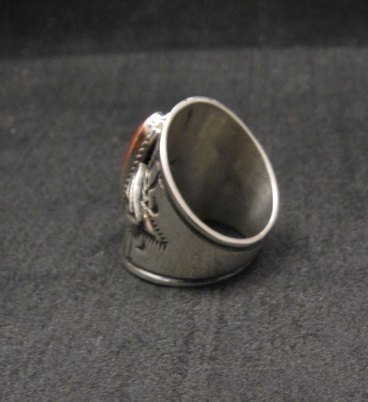 Image 2 of Wide Navajo Coral Sterling Silver Ring Sz6-3/4, Derrick Gordon