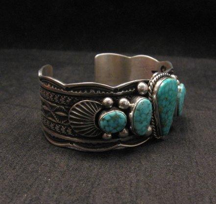 Image 2 of Navajo Native American 5-stone Turquoise Silver Bracelet, Guy Hoskie