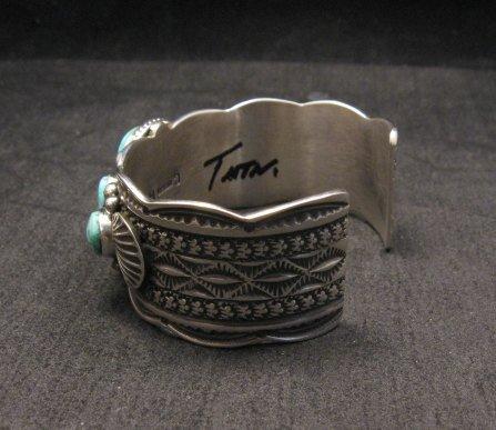 Image 4 of Navajo Native American 5-stone Turquoise Silver Bracelet, Guy Hoskie