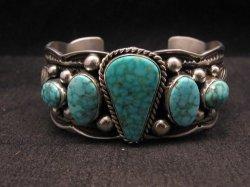 Navajo Native American 5-stone Turquoise Silver Bracelet, Guy Hoskie
