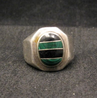 Image 0 of Old Mexican Malachite & Onyx Silver Ring sz10-1/2