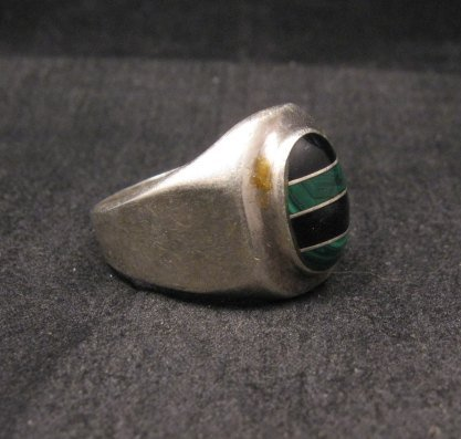 Image 2 of Old Mexican Malachite & Onyx Silver Ring sz10-1/2