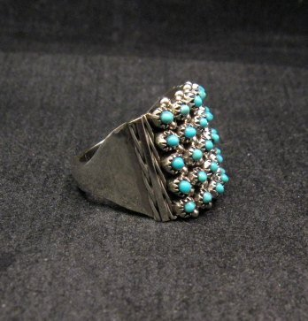 Image 1 of ZUNI 5row 25stones Turquoise Snake Eye Ring, Steven Haloo, sz8