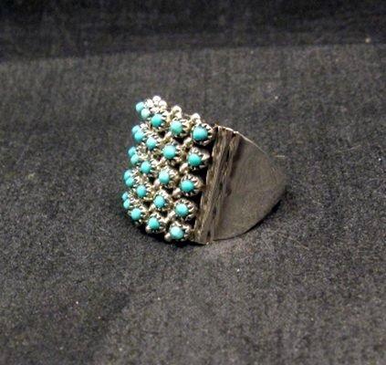 Image 2 of ZUNI 5row 25stones Turquoise Snake Eye Ring, Steven Haloo, sz8