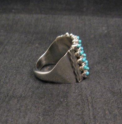 Image 3 of ZUNI 5row 25stones Turquoise Snake Eye Ring, Steven Haloo, sz8