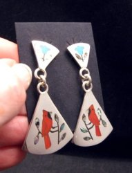 Zuni Cardinal 2-Pc Silver Dangle Earrings Turquoise Flower Tops, Sanford Edaakie