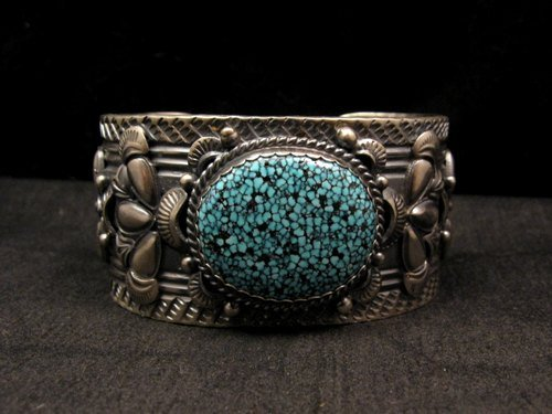 Image 7 of Navajo Native American Kingman Web Turquoise Bracelet, Gilbert Tom
